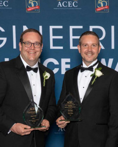 Aaylor Kelly and Ben Shinabery accepting ACEC award