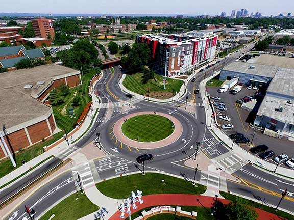 Completed University of Louisville East Campus Gateway and Roundabout